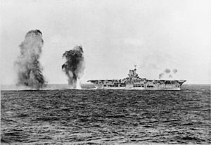 Italian bombs miss Ark Royal
